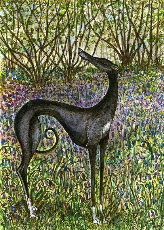 A Sense of Spring  Greyhound Print  5 x 7 inch by AlmostAnAngel66, £15.00