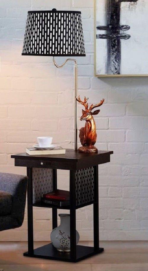 Floor Lamp Built In Side Table Shelf Bedside Energy Saving Led Swing Arm Lamps Shelves And Bill