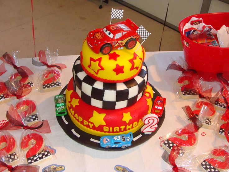 "Cars Birthday Cake - Thanks for all the inspiration from  cake central  members  My second MMF cake  This was for my grandson's 2nd birthday (JR).  I did sugar  cookies in #2""s with the race theme."