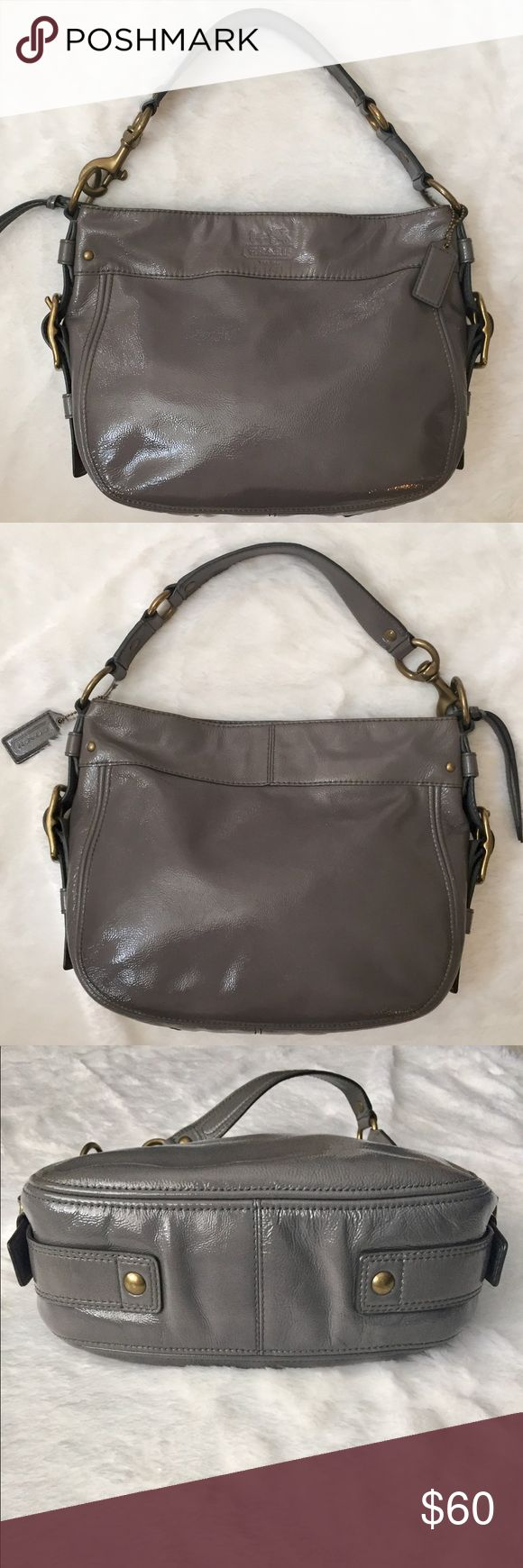 """EUC Coach Zoe Patent Hobo Shoulder Bag Coach Zoe Patent Hobo Handbag in Petrol Gray with gold hardware. Inside: 1 zip pocket and 2 open pockets. Style# 12735. Approx: 13""""L x 10""""H x 4""""W - strap drop: 7.5"""" - very good condition. Reasonable offers welcome. Coach Bags Shoulder Bags"""