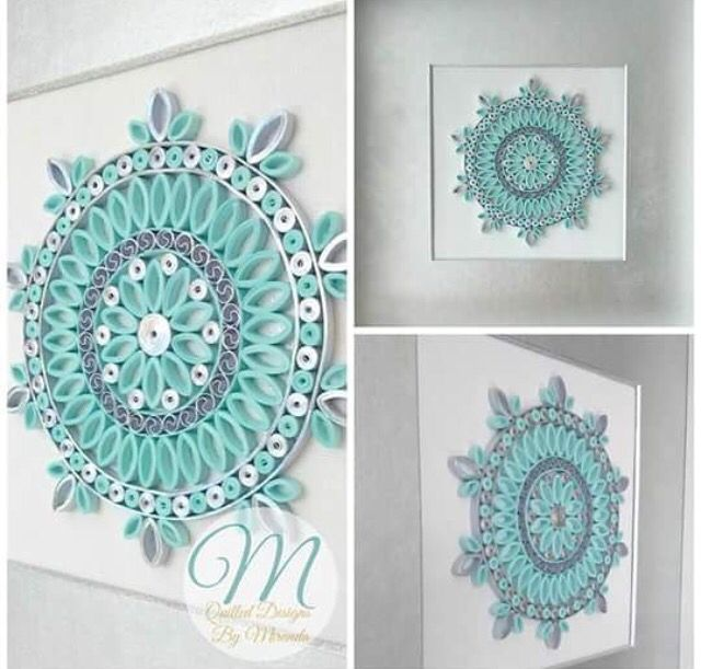 Quilled light blue mandala