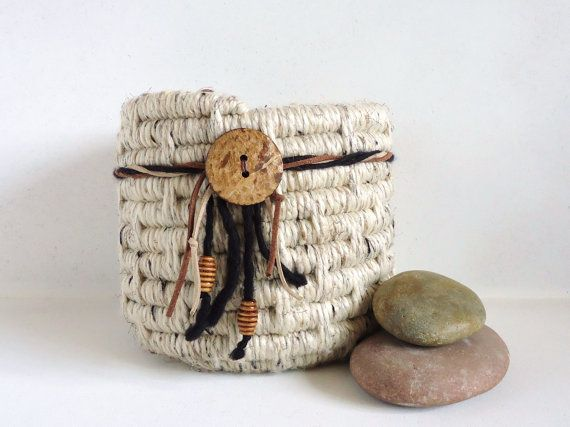 Yarn Coiled Basket, Neutral Storage Basket, Southwestern on Etsy, $40.00