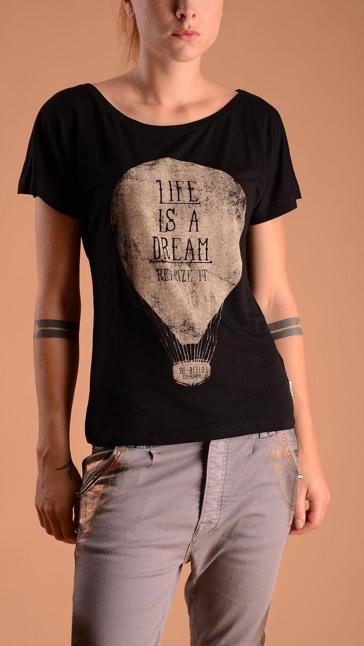 Rebello Crew neck T-shirt with hot air balloon print. 70% bamboo, 30% organic cotton