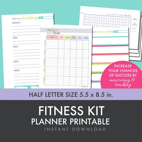 Fitness Planner - Weight Loss - Food Diary - Menu Planner ...