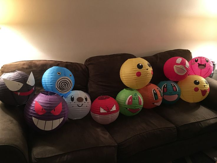 We made our own Pokemon lanterns! Such a great addition to our Pokemon birthday party.