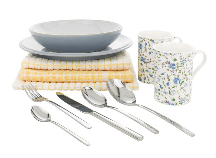 Tea towels, cutlery, mugs, bowls and plates.