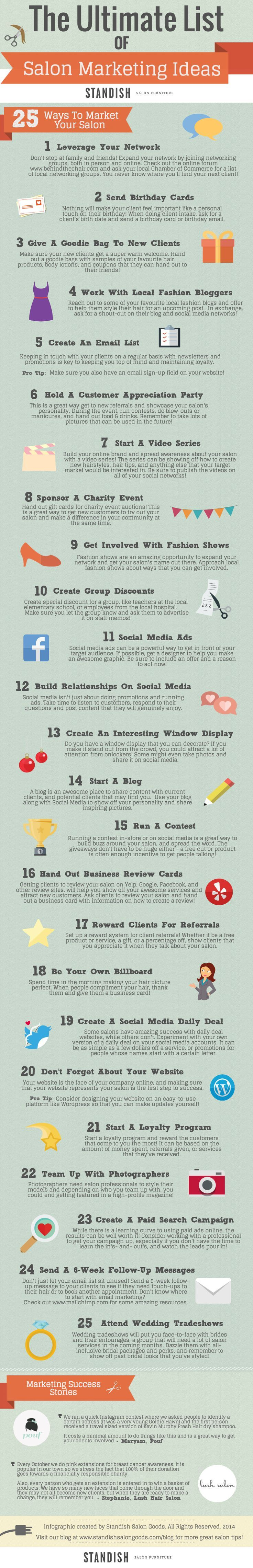 Want to boost your salon's holiday sales? Check out our infographic for 25 ways to market your salon! http://goo.gl/RnW4Sp