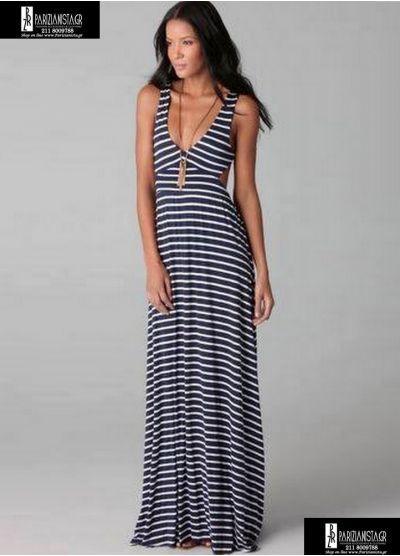 2630-Φόρεμα maxi ριγε