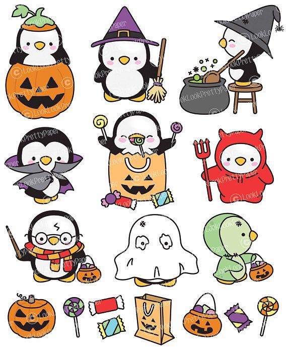 Premium Vector Clipart – Kawaii Halloween Penguins – Cute Halloween Penguins Clipart Set – High Quality Vectors – Kawaii Halloween Clipart