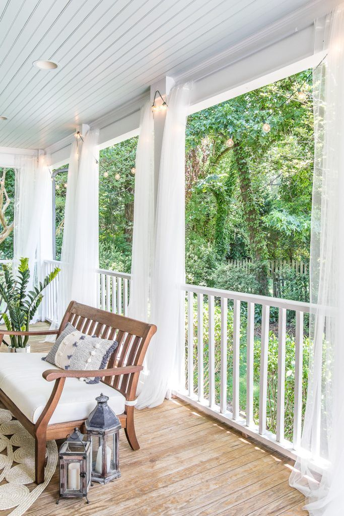 Diy Outdoor Curtains And Screened Porch For Under 100 Screened