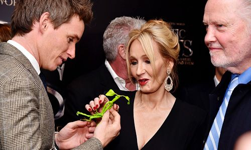 Eddie Redmayne shows author J.K. Rowling the Bowtruckle he received from a fan at the 'Fantastic Beasts And Where To Find Them' world premiere at Alice Tully Hall, Lincoln Center on November 10, 2016 in New York City