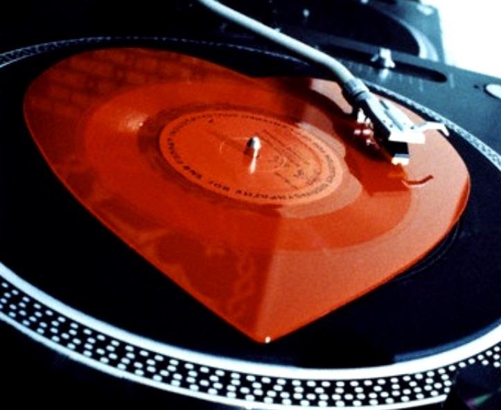 Heart shaped vinyl LP record