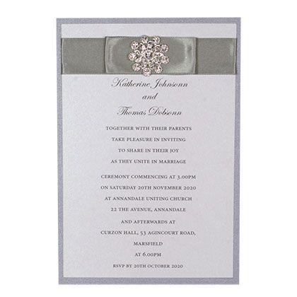 Layered Postcard Wedding InvitationWith Double Ribbon And Starburst Diamante