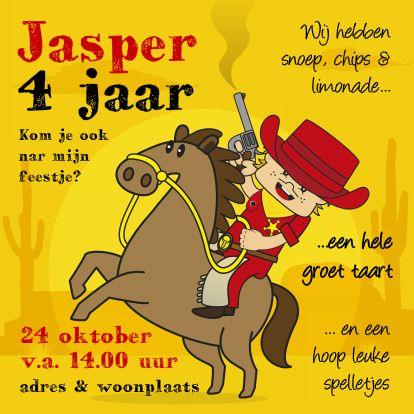 Uitnodigingen - Uitnodiging Verjaardagsfeest cowboy V. Meer Bengels vind je ook op www.debengelfamilie.nl