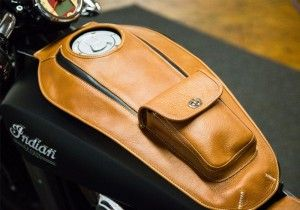 2015 Indian Scout - Tan/Black Leather Tank Cover - Custom