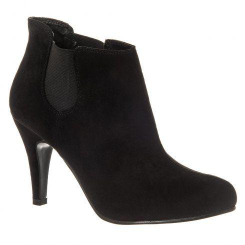Medium Heel Chelsea Shoe Boot Elastic Panels