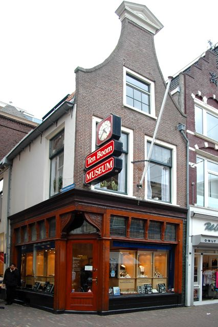 """Corrie ten Boom House, Haarlem, Holland. There is a plaque on the side of the building telling about Corrie and her book, """"The Hiding Place"""". The bottom floor is still a clock shop, as it was in the book."""