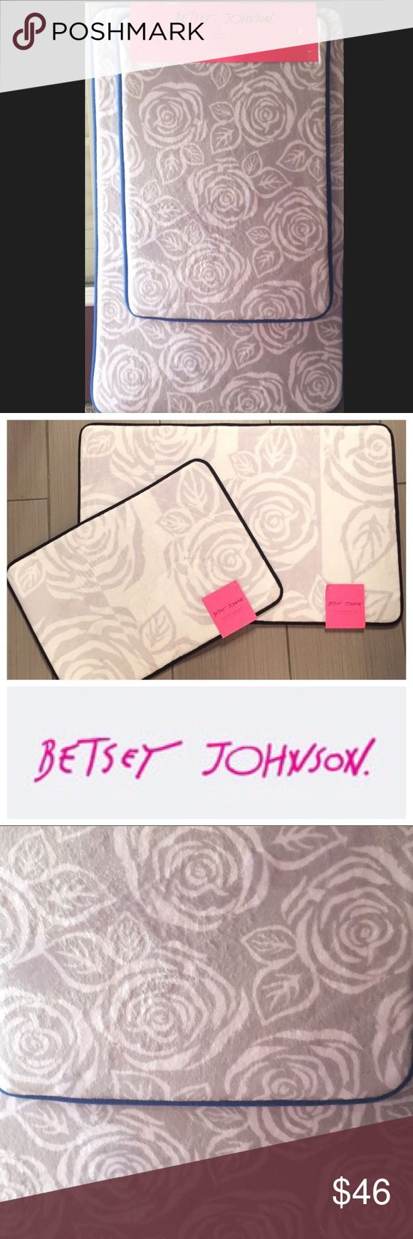 """Betsey Johnson Garden Rose Grey & Blue Bath Mats NWT Betsey Johnson Garden Rose Grey & Blue Memory Foam Bath Mats - luxurious gray roses with blue border. 🌸  Lush Memory Foam,  Soft and Absorbent Skid Resistant Backing - 100% Polyester.  Picture #2 is just to show the mats separately - the roaring roses mats are a separate listing. Color is grey roses with a blue border 🌸 Machine washable - tumble dry. 17"""" x 24"""" - 21"""" x 34"""" Betsey Johnson Other"""