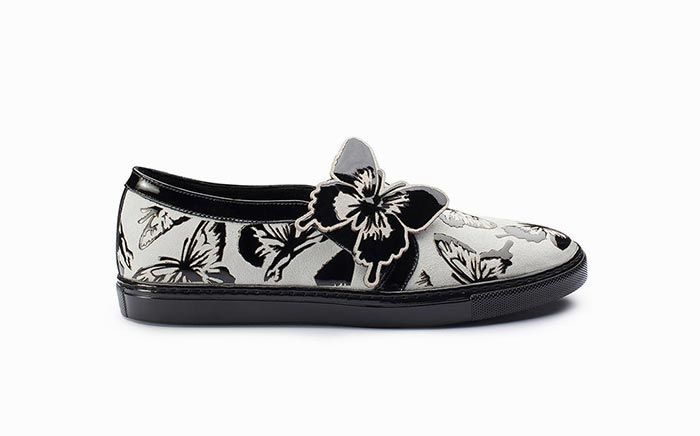 Sneaker slip on in bianco e vernice nera Massimo Melchiorri