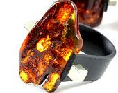 Baltic Amber Ring, Red amber ring, red amber bead, adjustable ring, red color ring, gift ring,  anillo ámbar, 琥珀戒指,  琥珀色のリン, янтарное кольцо