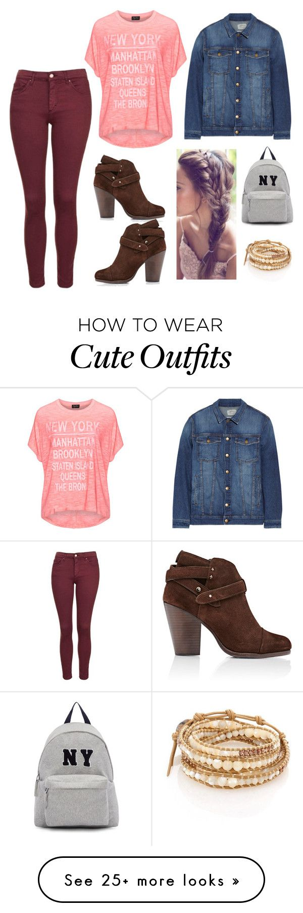 """""""Quick, Cute Outfit for School!"""" by fashionista4evah on Polyvore featuring Replace, Current/Elliott, Topshop, rag & bone, Chan Luu and Joshua's"""