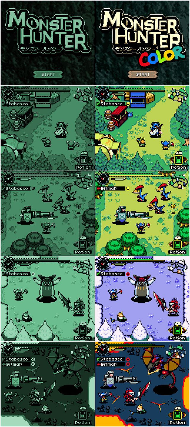 Gameboy color palettes - A Monster Hunter Game More People Might Actually Play