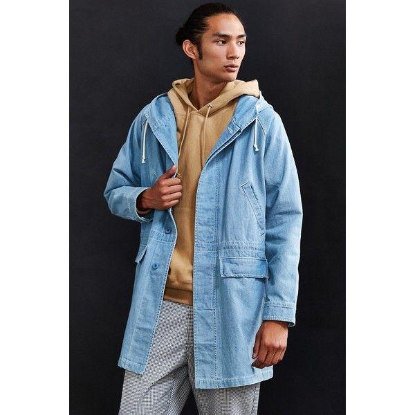 Stussy Long Denim Parka Jacket ($165) ❤ liked on Polyvore featuring men's fashion, men's clothing, men's outerwear, men's jackets, mens denim jacket, mens long jacket and mens parka jacket