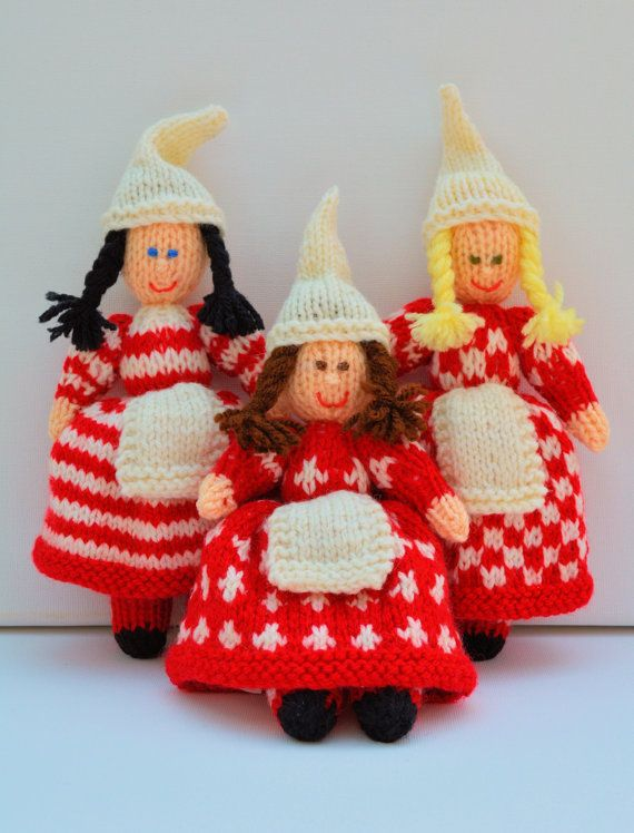 Christmas Doll Knitting Pattern Knitted Doll by EdithGraceDesigns