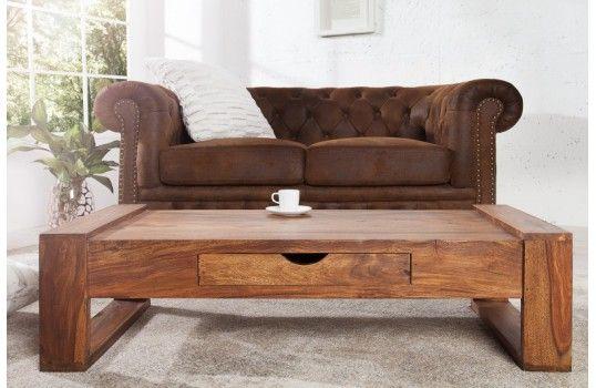 Table basse en bois Olaf, une table en bois de palissandre naturel avec un tiroir de rangement