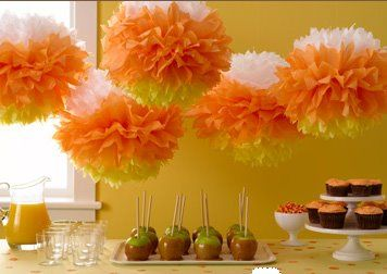 Halloween party !: Halloween Parties, Paper Pom Pom, Fall Parties, Halloween Candy, Candy Corn, Parties Ideas, Martha Stewart, Corn Pom, Tissue Paper