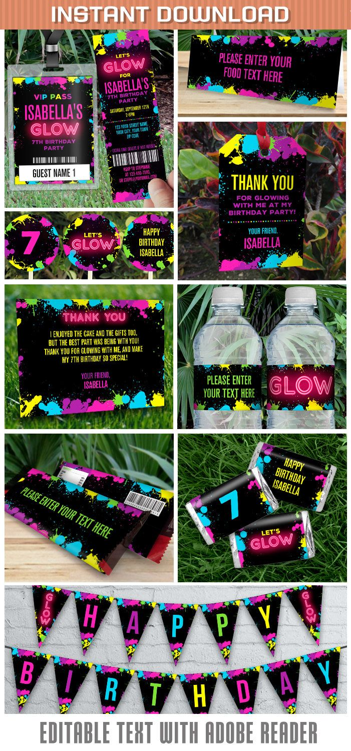 Neon Glow Party Invitations & Decorations - INSTANT DOWNLOAD - Glow in the Dark Party - Edit and Print using Adobe Reader by PartyPrintables2go on Etsy