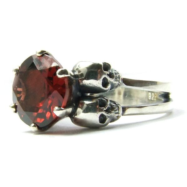 Skull Wedding Ring Blood Garnet Goth Wedding Sterling Silver Red... ($457) ❤ liked on Polyvore