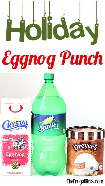 Eggnog Punch Recipe for the Holidays!  This Easy 3 Ingredient sparkling party punch will be the star of your Thanksgiving Feasts, Christmas Parties, and New Year's Eve Celebrations!