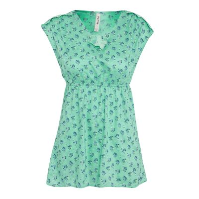 Lara Printed Tunic An unusual floral tunic top, in 100% soft viscose. Features an elasticated empire line and cut out details on the shoulders and neckline. Loose fit under the empire line for a pleasing shape.