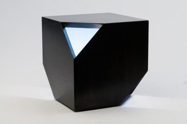 Nugget Hollow, from HUXHUX Design, is an end table with a sculptural, geometric shape and a pop of color and light on the inside.