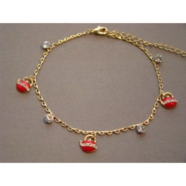 eBracelets Red Tea Pot Charms & White Crystals on Gold Chain Ankle Bracelet Charm, Leather, Wrap Bracelets