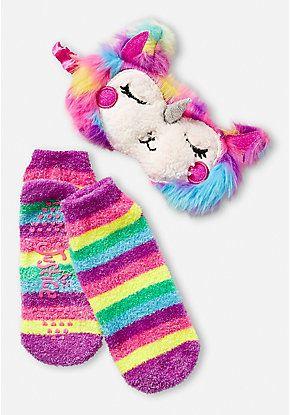 734d31958ab Rainbow Llama Eye Mask   Slipper Socks Set