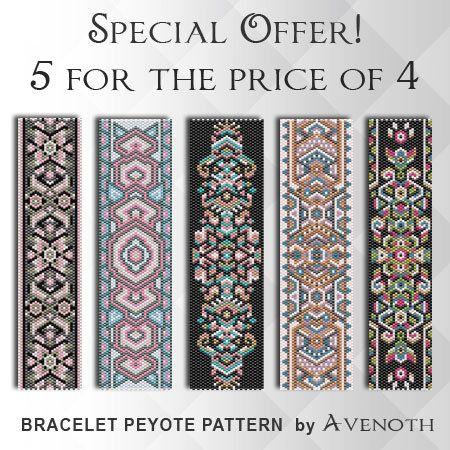 Peyote bracelet pattern, peyote pattern, stitch pattern, pdf file, pdf pattern, pack, #P002P