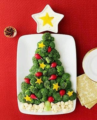 Flat broccoli Christmas tree - I made this for a work potluck & it turned out great!