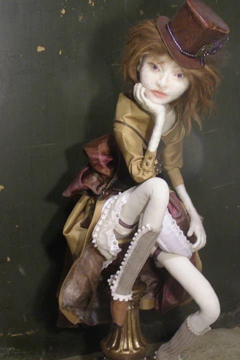 Amelia - needle felted wool on wire armature, 2013 - Jennifer Schermerhorn. Art Doll