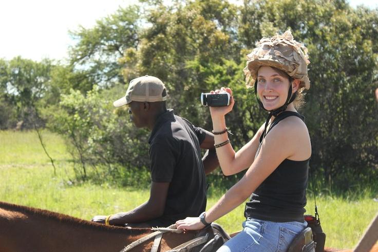 A happy face on horse safari.