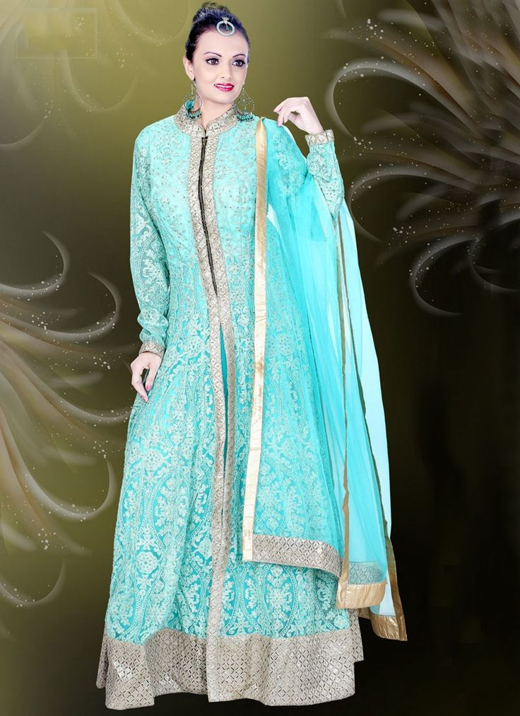 Buy Turquoise Net Embroidered Work Readymade Gown