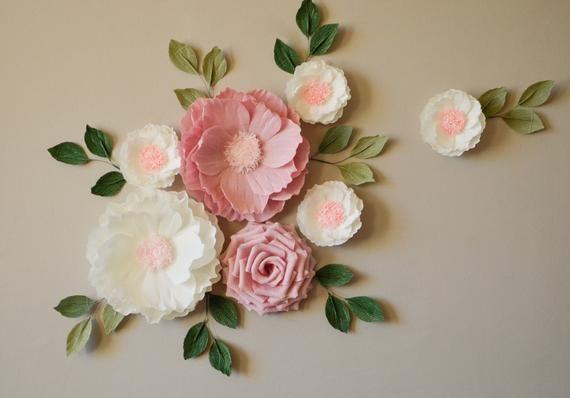 Flower Backdrop Nursery Decor Paper Flower Wall Decor Baby Shower Decor Nursery Wall Flowers Bridal Shower Decor Wall Flowers