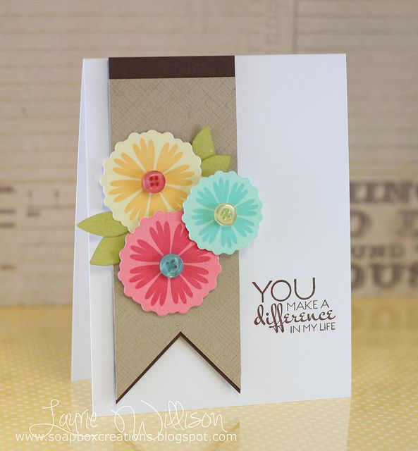 cute!! Would be cute with accordion flowers too.Colors Combos, Awesome Layout, Cas Cards, Pretty Cards, Accordion Flower, Cards Layout, Colors Nice, Flower Cards, Llwillison Nice