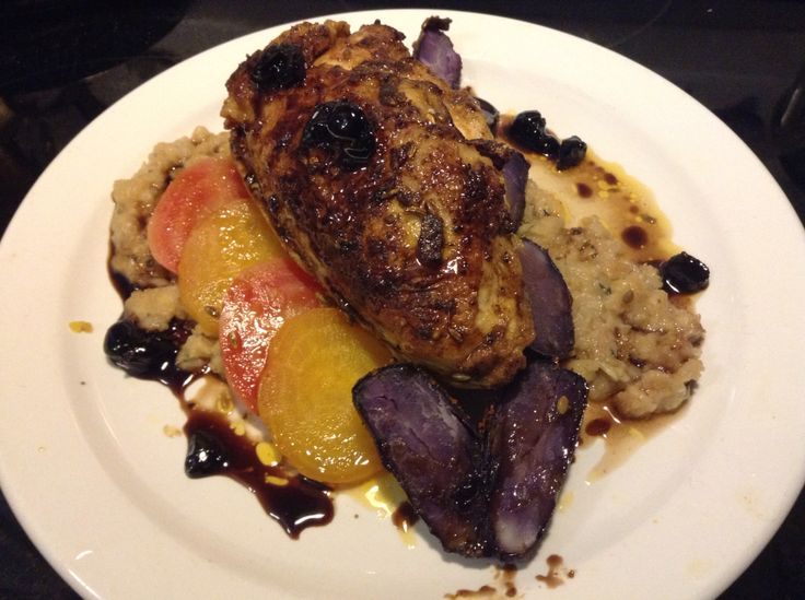 Pan Seared Moroccan Spiced Chicken Breast, Roasted Mini Purple Potatoes, Steamed Candy Cane Beets, Stuffing & Cranberry Maple Balsamic Reduction