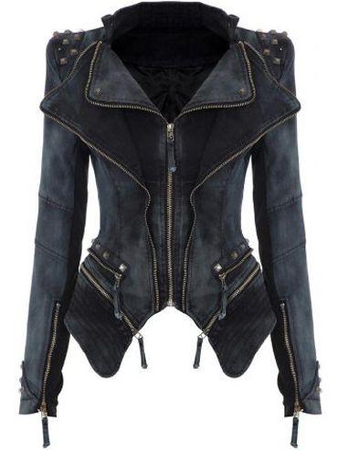Veste en jean asymétrique zippé col revers -noir  54.32