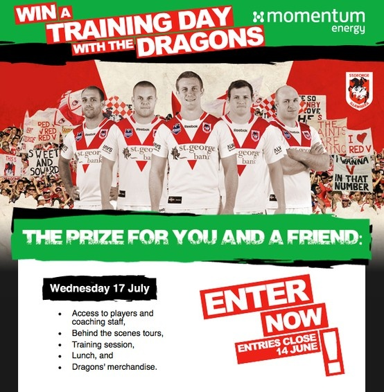 #win a Training Day with the Dragons in this ultimate #rugbyleague experience. Enter now http://www.dragonsexperience.com.au/  #stgeorgeillawarradragons  #momentumenergy