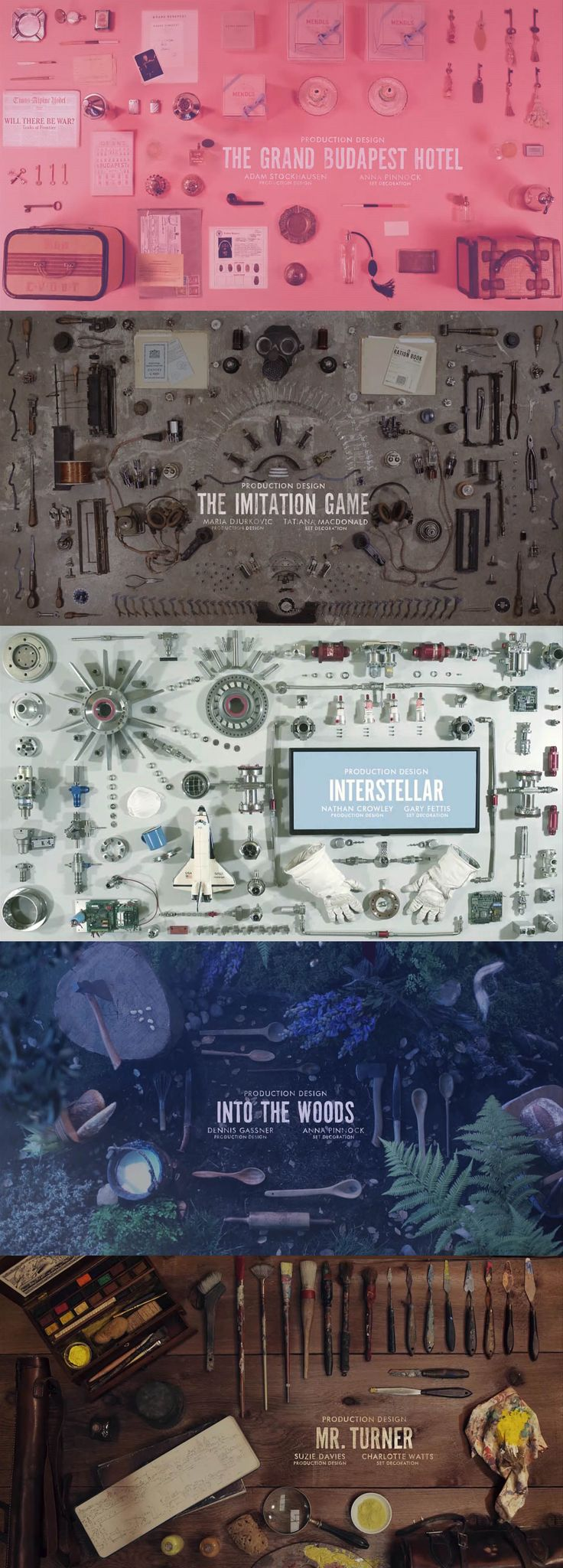 The beautiful Production Design nominee slides used at the Oscars. Featuring: The Grand Budapest Hotel, The Imitation Game, Interstellar, Into The Woods, & Mr. Turner.