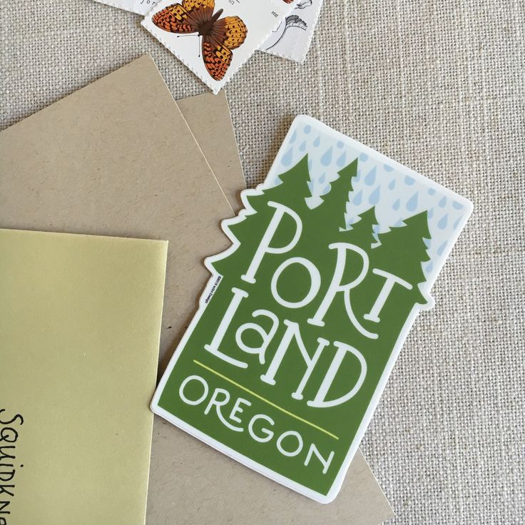Portland oregon rain vinyl sticker modern illustrated portland sticker pacific northwest sticker hand lettering cool sticker