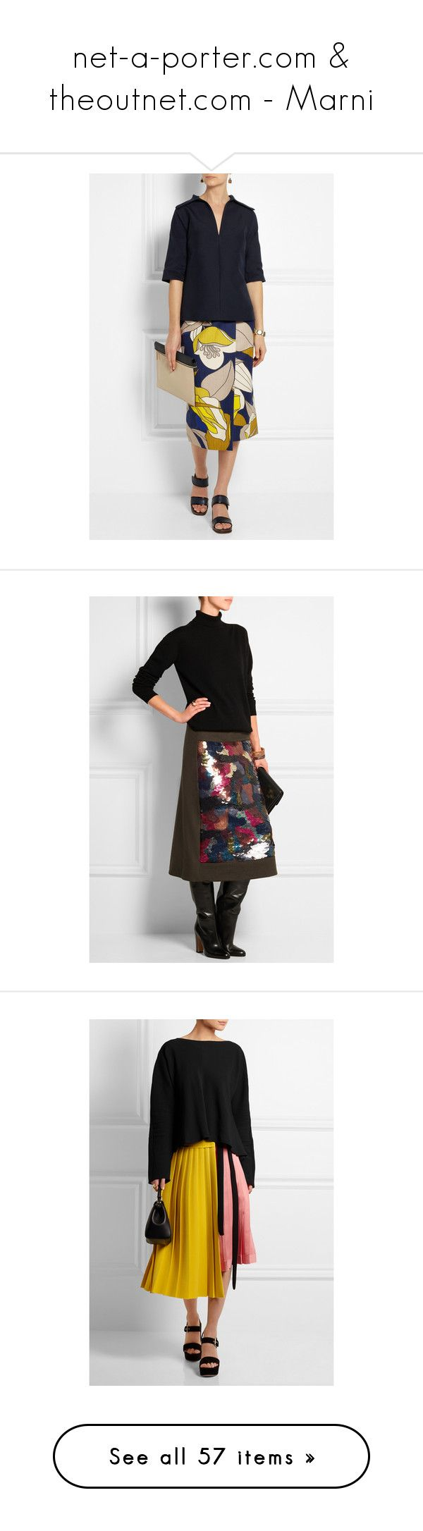 """""""net-a-porter.com & theoutnet.com - Marni"""" by tinusia777 ❤ liked on Polyvore featuring skirts, multi color skirt, floral print midi skirt, floral print skirt, floral skirts, floral midi skirts, mid-calf skirts, calf length skirts, wool skirt and embellished skirt"""
